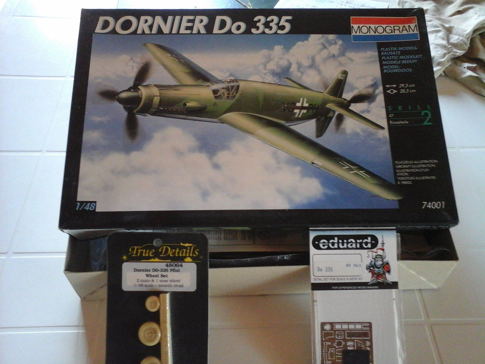 DORNIER DO 335  1 48 SCALE MODEL MONOGRAM+WHEEL SET RESIN PARTS+PHOTOETCHED EDUA