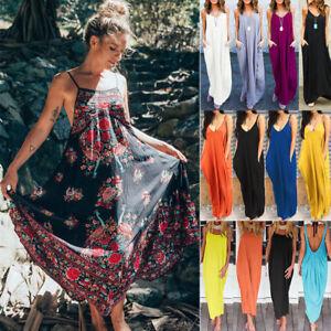 Women-039-s-Boho-Long-Maxi-Dress-Summer-Evening-Party-Beach-Holiday-Loose-Sundress
