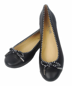 Taglia 41 Bow Black Ballerina Pair Black Leather Leather Single wc1wyRTxn