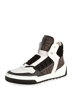 fee4cd54 Details about 100% AUTHENTIC NEW MEN FENDI ZUCCA TANK HIGH TOP SNEAKERS UK  11.5/US 12.5