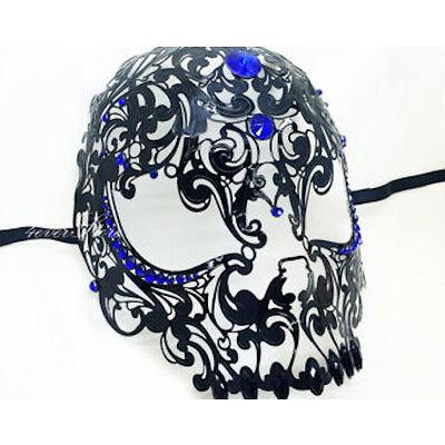 Black Venetian Filigree Skull Masquerade Mask Halloween Masked Ball BLUE Stones