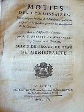 DROIT Brissot 1789 Motifs des commissaires pour adopter le plan de municipalité
