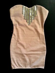 bebe-brown-tan-bead-stud-embellished-tube-strapless-bandage-top-dress-XL-sexy