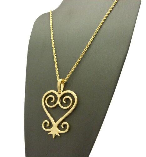 "Hip Hop Adinkra Symbol Sankofa Heart Pendant 24/"" Various Chain Necklace XQP77G"