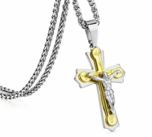 Details zu Anhänger Kreuz silbergold mit Jesus und Kette