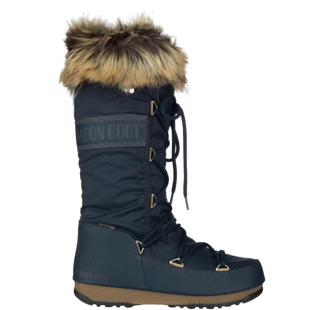 Moon Boot WE Monaco WP bluee Denim Winter Snow Boots Womens Size 8