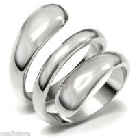Wide Spiral Silver Stainless Steel Ladies No Stone Ring