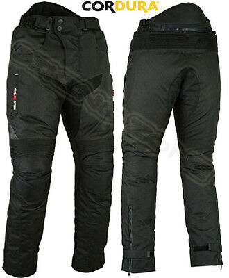 BLACK VENT ALL WEATHER MENS WIND-PROOF CE ARMOUR MOTORBIKE / MOTORCYCLE TROUSERS