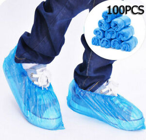 100//300 Disposable Shoe Cover Blue Anti Slip Plastic Cleaning Overshoes Boot UK