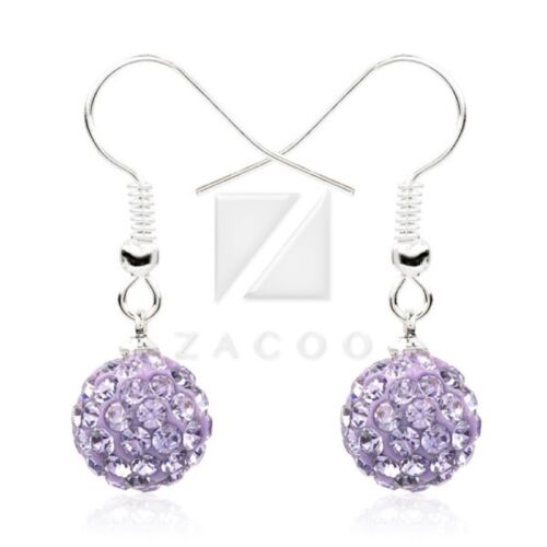 Fashion Pave Crystal Discoball 10mm Earrings Findings Rhinestone Elegant 37Color