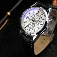 New Fashion Men's Date Leather Stainless Steel Military Sport Quartz Wrist Watch