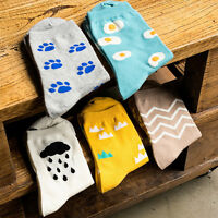Fashion Women Cute Cartoon Egg Ripple Clouds Pattern Casual Cotton Ankle Socks