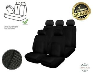 For-Ford-Black-Fabric-Car-Seat-Covers-6-Pcs-Full-Set-Split-Rear-Seat-With-Zip