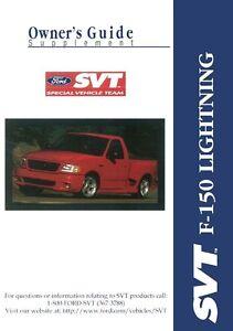 1999 ford truck f 150 svt lightning owners manual user guide