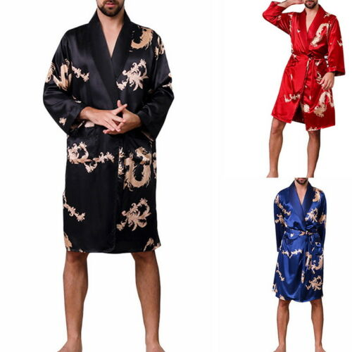 Mens Satin Long-Sleeve Bathrobe  Print Robe Pajama Nightgown 2018