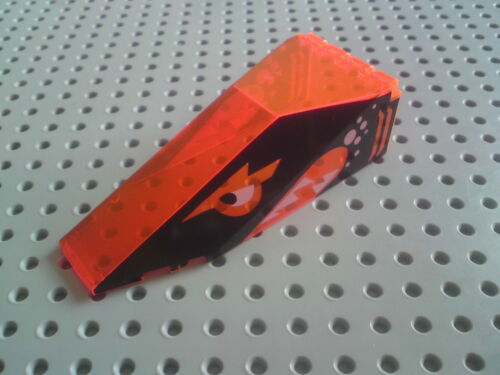 Trans Neon Orange Print: Shark Lego Canopy 4x10x2&1/3 Sloped Wedge 2507pb01