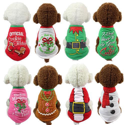 Christmas-Pet-Puppy-Dog-Cat-Clothes-Dress-Vest-T-Shirt-Apparel-Winter-Clothes