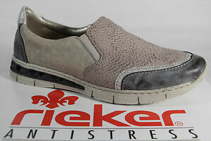 Details about Rieker Slippers Sneakers Low Shoes LeatherSynthetic Leather Gray New