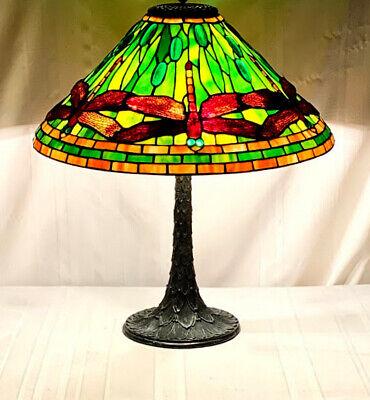 Tiffany Studios Inspired Green Dragonfly Cone On Bronze Artichoke Base 3 Lights Ebay