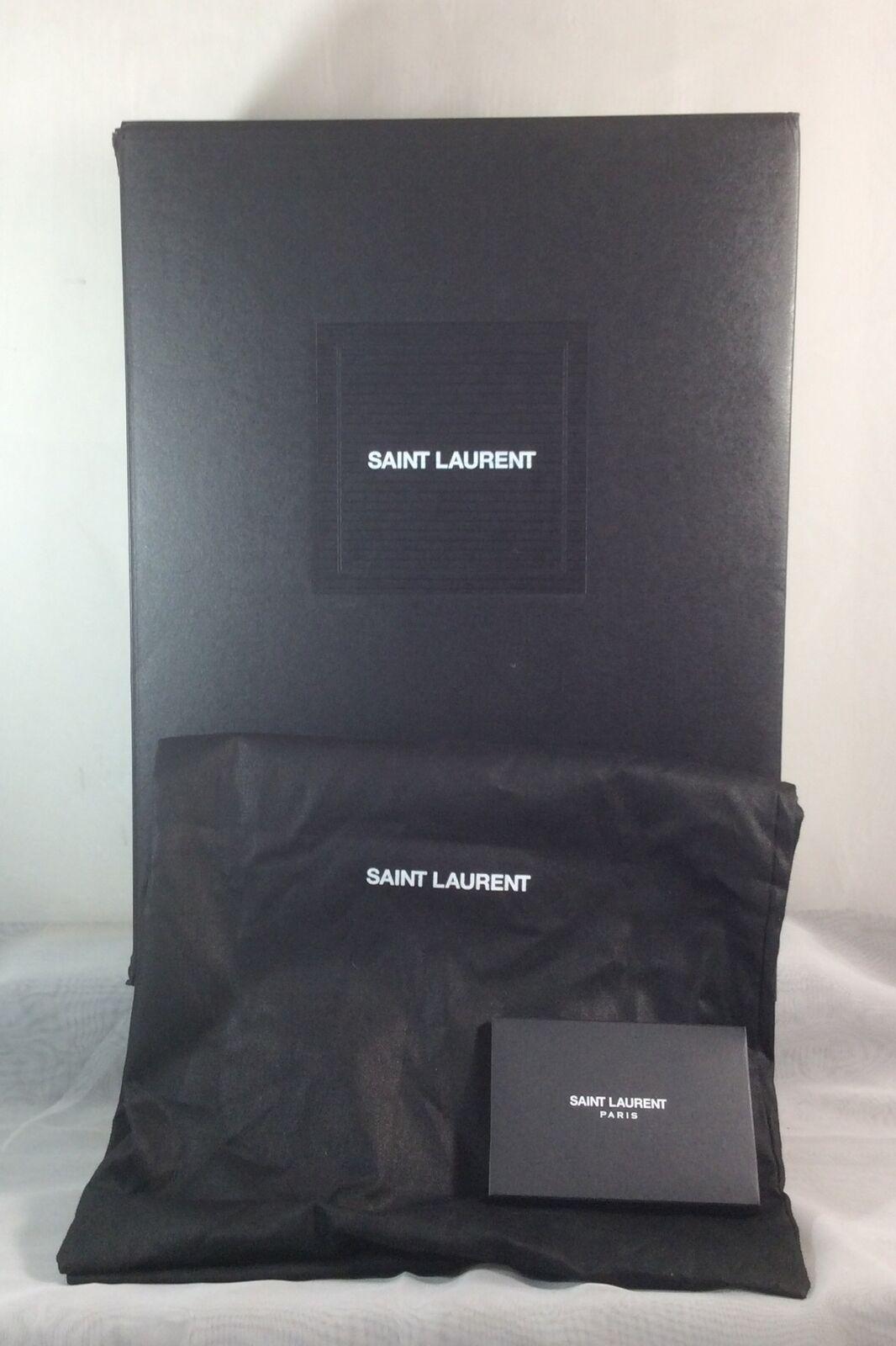 "YSL Saint Laurent Shoe Gift Storage Box 10 X 14 X 5 1/4"" Black + 2 Dust Bags"