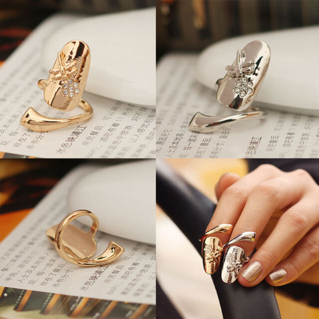 New Fashion Delicate Dragonfly Rhinestone Flower Finger Nail Ring 2 Colors