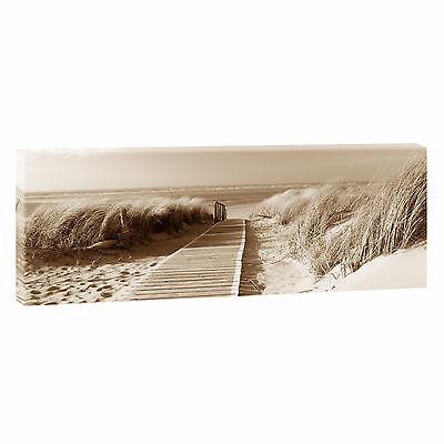 Bild Strand Meer Keilrahmen Leinwand  Poster XXL 120 cm*40 cm 547 Sundown sepia