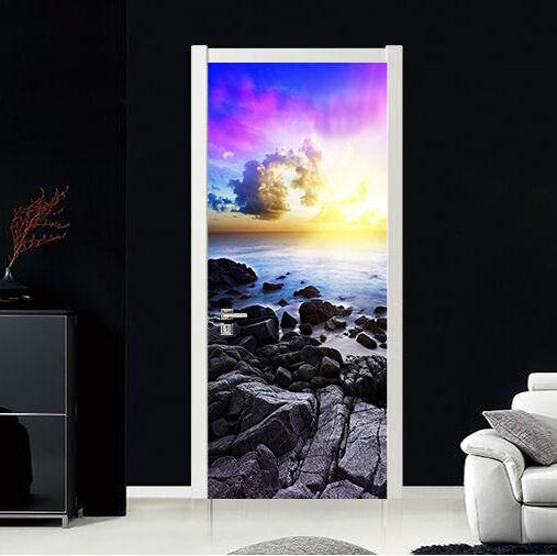 3D Schwarz Stein Tür Wandmalerei Wandaufkleber Aufkleber AJ WALLPAPER DE Kyra