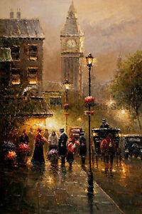 London-Street-Scene-With-Big-Ben-Original-Landscape-Oil-Painting-Art-24-034-x-36-034