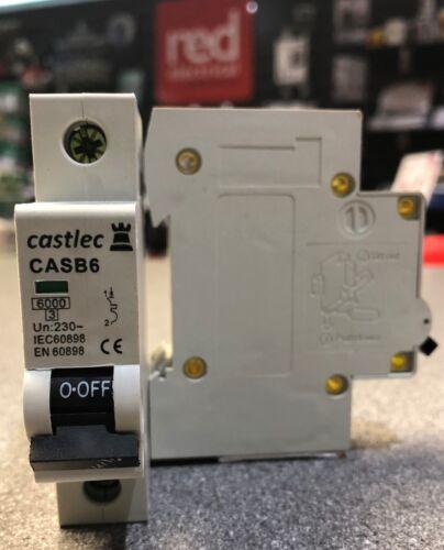 CASTLEC TYPE B SINGLE POLE 230V 6KA CIRCUIT BREAKER MCB 6,10,16,20,32,40 /& 50A