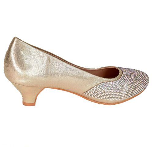 Womens Low Kitten Heel Full toe Dress Shoes Iridescent Rhinestone Diamante Pumps