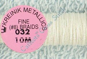 Kreinik-Braid-8-032-Pearl-Metallic-Thread-Fine-10M-Cross-Stitch-Needlepoint