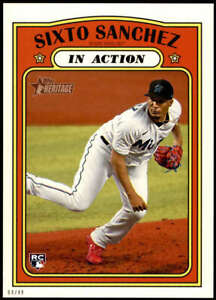Sixto Sanchez 2021 Topps Heritage 5x7 #16 RC /49 Marlins In Action