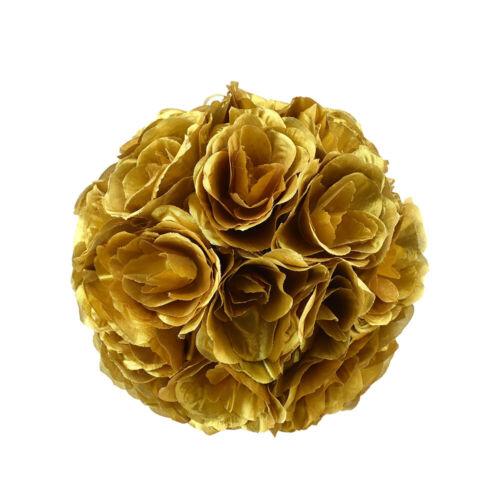 Metallic Flower Kissing Balls 10-Inch Gold