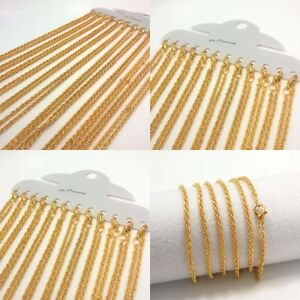 12Pcs-Wholesale-Lot-18K-Gold-Plated-Chain-Necklace-Women-Jewelry-17-29-Inch