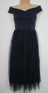 New Coast Navy Eden Occasion Prom Tulle Midi Dress Size 6-18