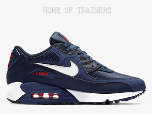 Nike Air Max 90 Essential Midnight Navy Red Men's Trainers All Sizes