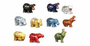 RETIRED 2013 AMAZING MINIATURE PORCELAIN, FANCY HIPPOS FIGURINES COLLECTION SET