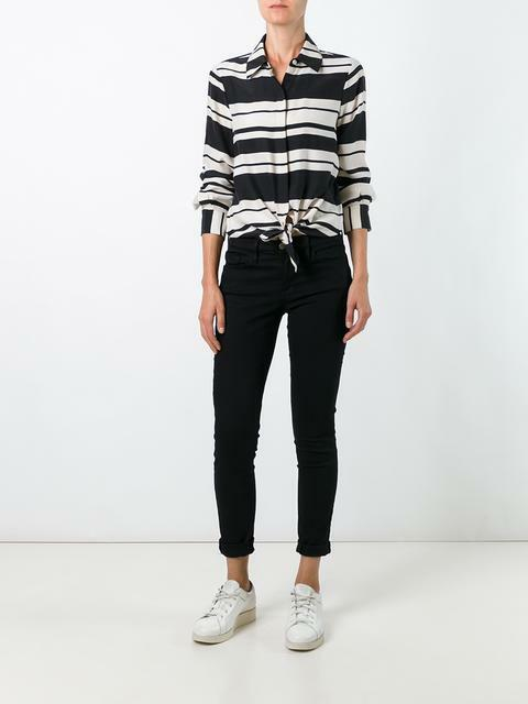 NEW Frame Denim stripe print shirt- M schwarz, ivory  T638
