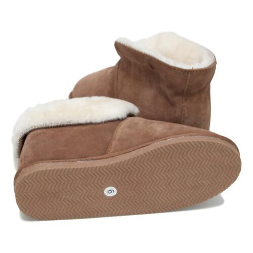 FREE RETURNS Deluxe Ladies Sheepskin Slipper Boots with Foldable Cuff