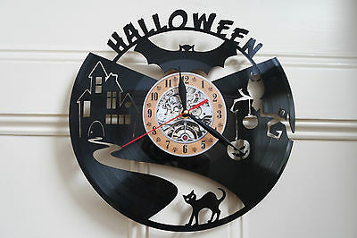 Halloween vinyl record wall clock bedroom playroom office home art shop club