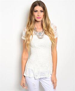 USA-Boho-Lace-Floral-Western-Short-Sleeve-Peplum-Stretch-Blouse-Top-Ivory-S