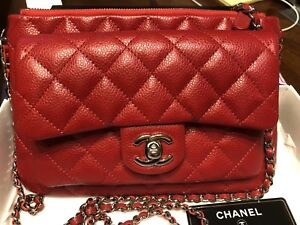 f0cd1208dc59 Image is loading 100-AUTHENTIC-CHANEL-RED-CAVIAR-LEATHER-CROSSBODY-BAG-