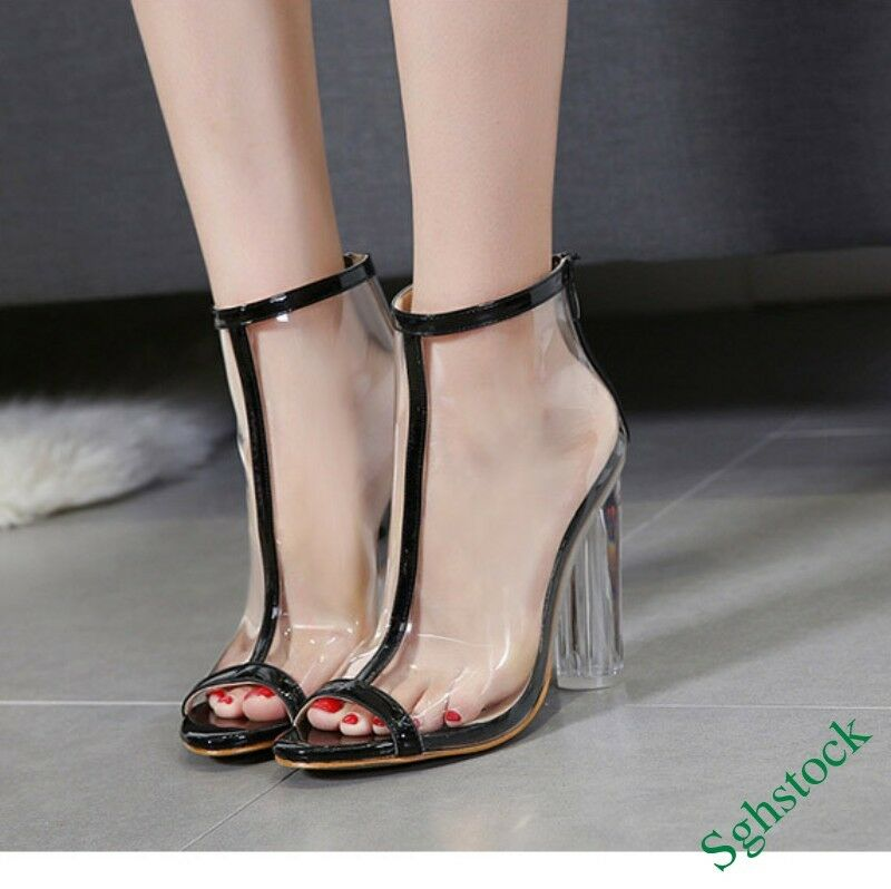 Sexy Lace Up Women's Transparent Peep Toe Clear Back Zip Nightclub Shoes New&&