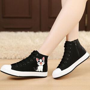 134f0d94b2d CUTE Cartoon Flat Shoes High-top Canvas Flat Heel Sneaker Women ...