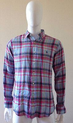 Ralph Lauren Men's Linen Plaid Long Sleeve Button Down Shirt, Size L