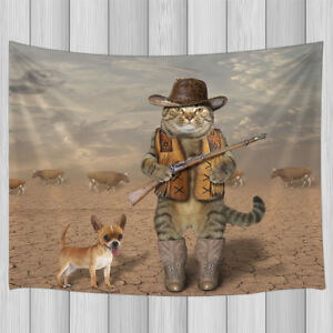 fa3b5f25e5b Cute Cowboy Cat and Chihuahua Dog Bohemia Tapestry Wall Hanging Rug ...