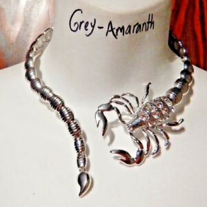 9d2ab651e2be4 Details about SILVER SCORPION COLLAR metal choker necklace poison Scorpio  edgy punk goth XS 6Z
