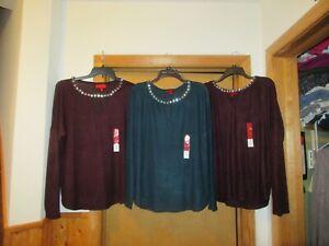Cozy-Women-039-s-Tops-size-XL-JLO-Dark-Purple-amp-Dark-Teal-collar-exclusive-dec-NWT