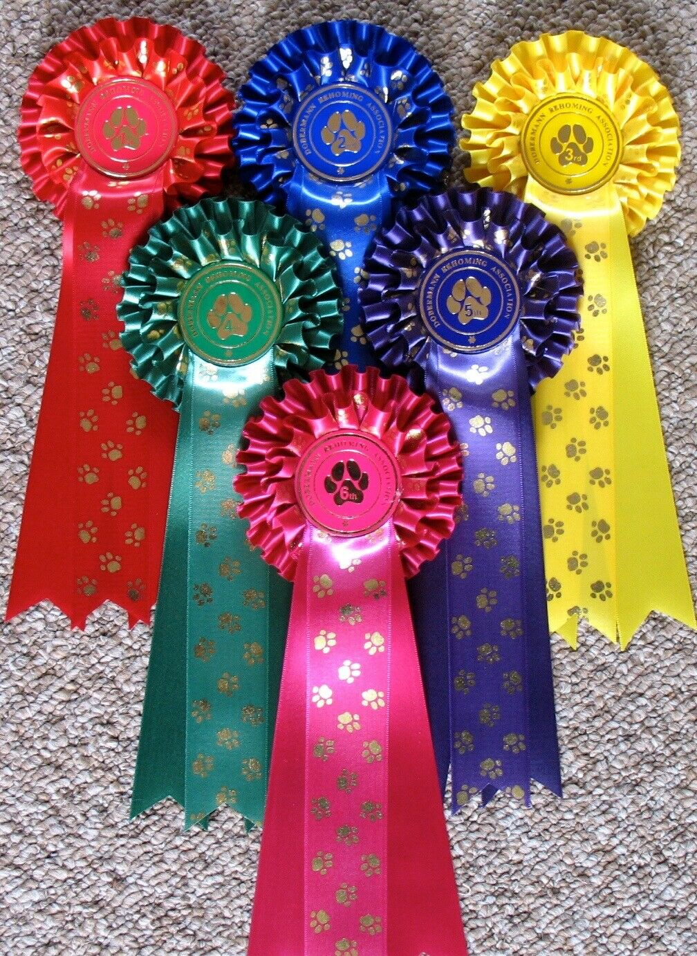Dog Show pinkttes 10 x 1st to 5th TWO TIER PAWS plus BIS & RBIS 3 tier PAWS