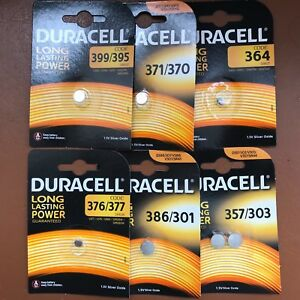 NEW-Duracell-Silver-Oxide-1-5V-Watch-Batteries-ALL-SIZES-357-386-377-364-399-371